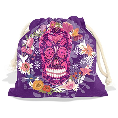 Price comparison product image Sugar Skull Dia De Los Muertos Velvet Drawstring Gift Bag Wrap Present Pouches Favor for Jewelry, Coin, Holiday, Birthday, Party, 12.6X17 Inches
