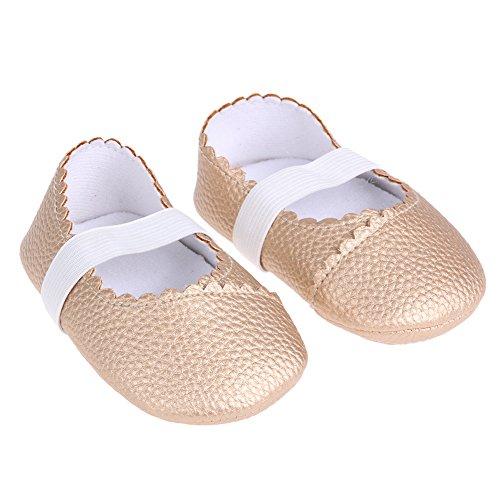 Domybest primeros pasos para bebé-niñas Oxford inferior antideslizante para 0-6 meses, 6-12 meses, 12-18 meses Gold