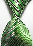 Jacob AleX #47212 Costume Striped Green JACQUARD WOVEN Necktie