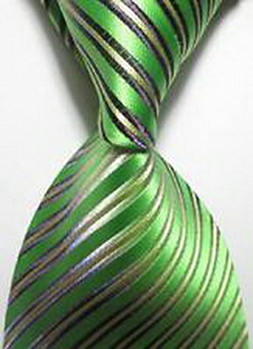 [Jacob AleX #47212 Costume Striped Green JACQUARD WOVEN Necktie] (Optimus Prime Costume 2016)