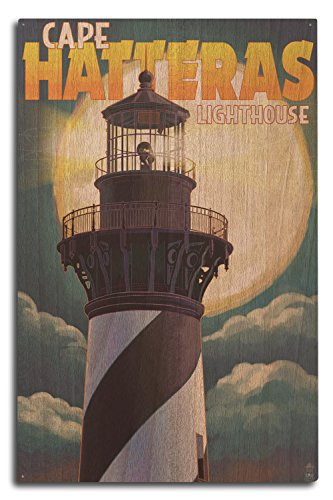 Lantern Press Outer Banks, North Carolina - Cape Hatteras Lighthouse with Full Moon (10x15 Wood Wall Sign, Wall Decor Ready to Hang)