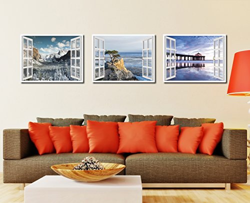 """Monterey Beach View Picture French Window Art 23021 Framed Canvas Print Office Wall Home Decor Collection Gift Ideas 7\""""x9\"""""""