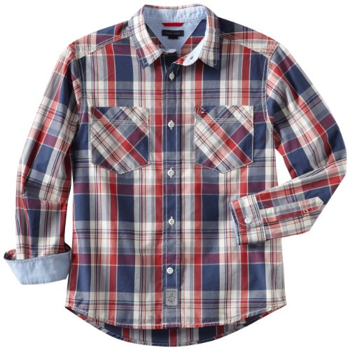 Tommy Hilfiger Big Boys' Long Sleeve Kelsey Plaid Woven Shirt