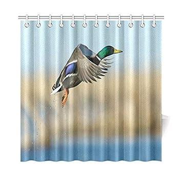Mallard Duck Shower Curtain Romatic Valentines Day Novelty Gifts Presents Cute Pattern Waterproof Bathroom