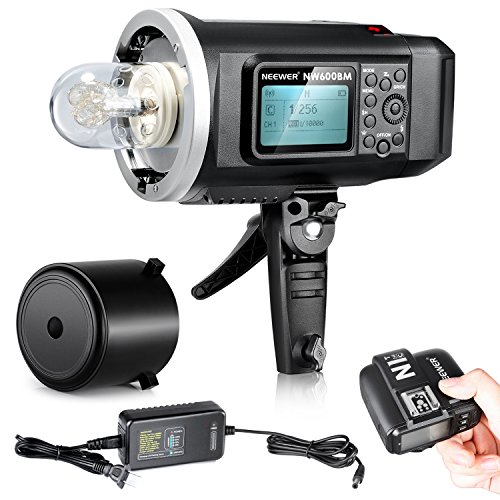 Neewer® 600W GN87 HSS Outdoor Flash Strobe Light for Canon DSLR Camera,with 2.4G Wireless Trigger&8700mAh Battery to Provide 500 Full Power Flashes Recycle in 0.01-2.5s Bowen Mount (NW600BM) by Neewer