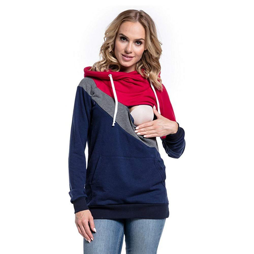 VEKDONE Women's Pregnant Nursing Baby Maternity Hooded Tops Blouse Outwear Clothes TY5966