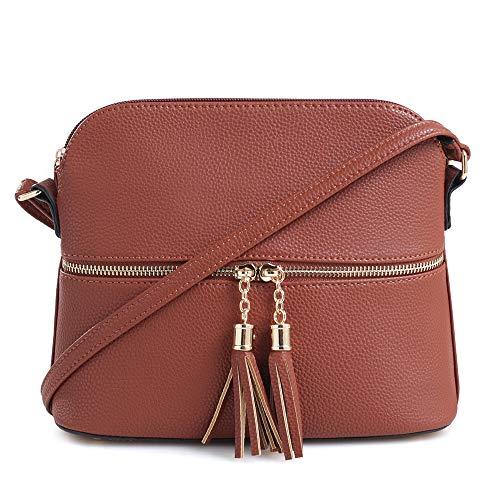 SG SUGU Lightweight Medium Dome Crossbody Bag with Tassel | Zipper Pocket | Adjustable Strap (Brown)