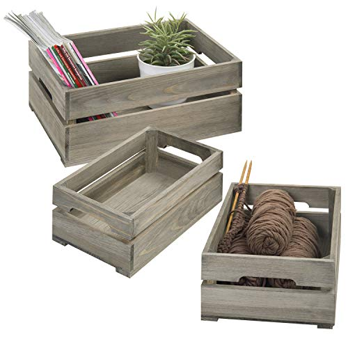 MyGift Set of 3 Nesting Ash Brown Wood Accent Crates, Storage Pallet Boxes with Handles (Wood Pallet Patio)