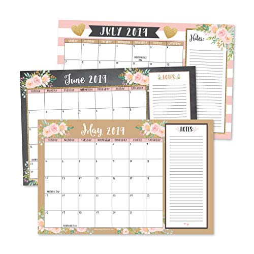 Desktop Wall - Gold Pink Chalk 2019-2020 Large Monthly Desk or Wall Calendar Planner, Floral Giant Planning Blotter Pad, 18 Month Academic Desktop, Hanging 2-Year Date Notepad Teacher, Family Business Office 11x17