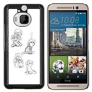 """For HTC One M9+ M9 Plus Case , La niña del Niño que juega feliz Arte Dibujo"""" - Diseño Patrón Teléfono Caso Cubierta Case Bumper Duro Protección Case Cover Funda"""