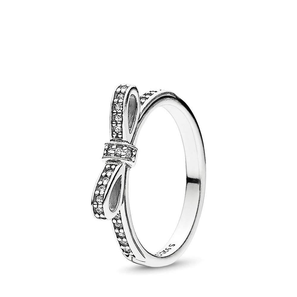 PANDORA - Classic Bow Ring in Sterling Silver with Clear Cubic Zirconia, Size 5 US / 50 EURO by PANDORA