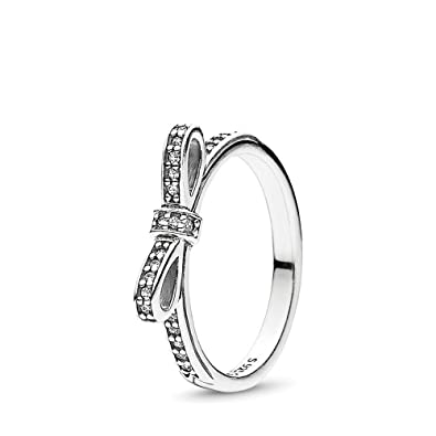 27bc67634 Amazon.com: PANDORA Sparkling Bow Ring, Sterling Silver, Cubic Zirconia,  Size 8.5: Jewelry
