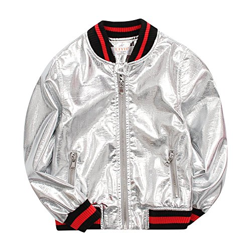 LJYH Baby Boy Metallic PU Leather Moto Biker Jacket Kids Baseball Bomber ()