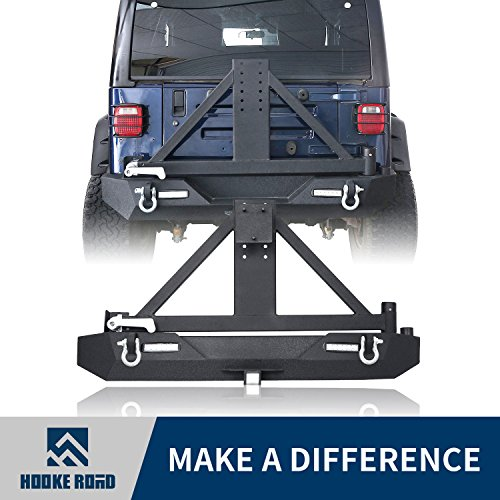 Hooke Road 1987-2006 Jeep Wrangler TJ YJ Rear Bumper w/Tire Carrier & 2″ Hitch Receiver & LED Lights