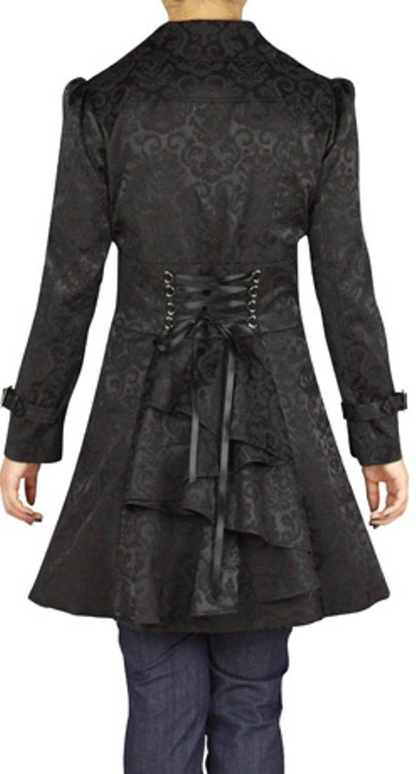 -Foggy Night in Paris- Black Steampunk Vintage Style Corset Light Rain Coat (XL)