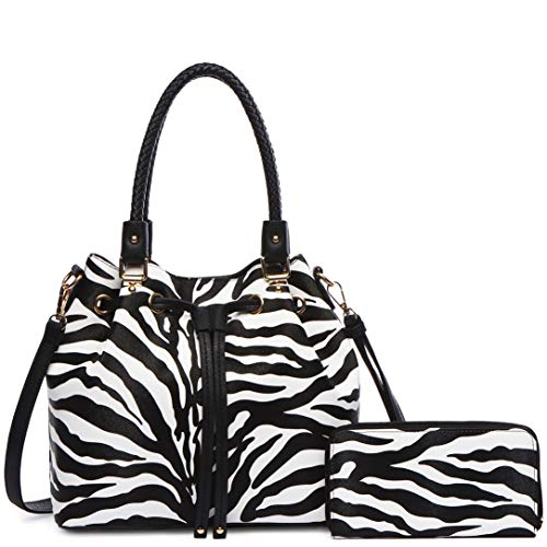 Zebra Stripe Pattern Drawstring Magnetic Purse Women Handbag Fashion Shoulder Bag Matching Wallet Set (Black Set) ()