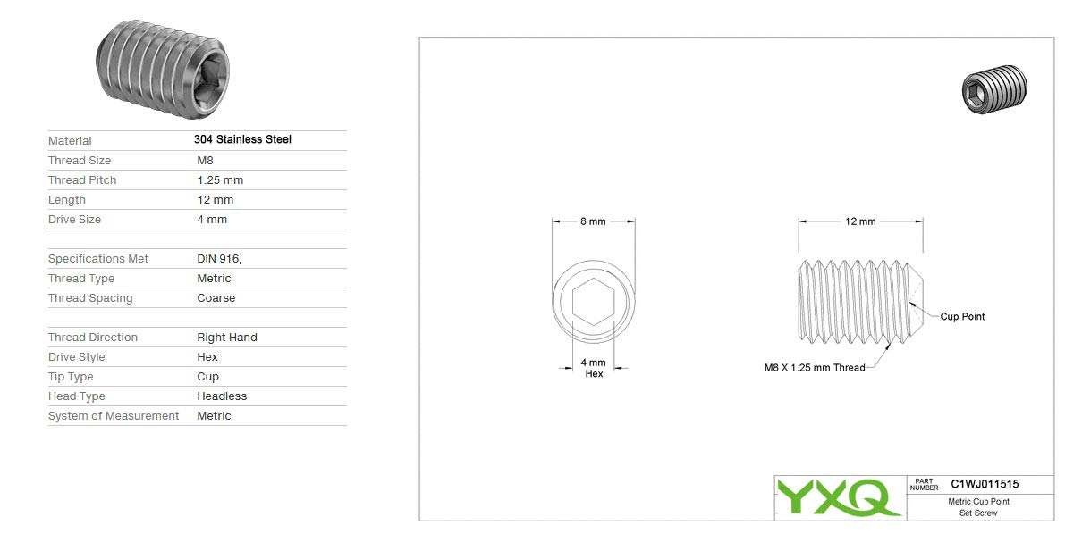 Industrial & Scientific Fasteners YXQ M8x12mm 1.25mm Pitch Hex ...