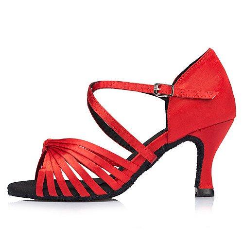 ballo Samba Tango in raso T Scarpe Sandali Salsa Jazz Rosso Pratica latini da Rosso da Performance Ballroom T Q indoor Nero Giallo Altalena donna Tacco vI0wPq