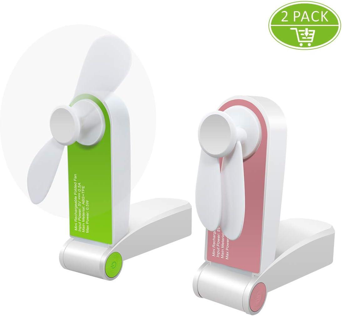 Mini Handheld Fan,MIKOSI 2 Pack Portable Fan Small Personal Fan Pocket Fan Mini USB Rechargeable Fan Adjustable Wind Speed Folding Electric Fan for Home Office Traveling Camping Hiking Room Outdoor