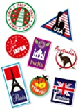 World Travel Locations Suitcase Stickers - von 8 Luggage Labels Aufkleber Set