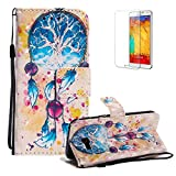 Funyye Strap Magnetic Flip Case for Samsung Galaxy A520,Elegant 3D Wind Chimes Fantasy Painted Design Folio Wallet Pocket with Stand Credit Card Holder Slots Soft Silicone PU Leather Case for Samsung Galaxy A5 2017,Full Body Shockproof Non Slip Smart Durable Shell Protective Case for Samsung Galaxy A520/A5 2017 + 1 x Free Screen Protector