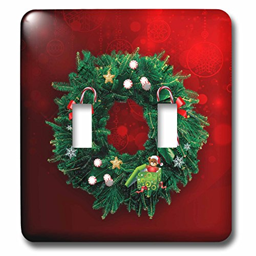 Beverly Turner Christmas Design - Wreath with Candy Canes, Peppermint, Bow, Bear in Gift on Bright Red - Light Switch Covers - double toggle switch (lsp_233581_2) (Cane Candy Bears)