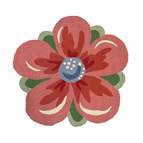 3 Feet Shaped Hooked Rug, Garden Medley Red Flower Blossom
