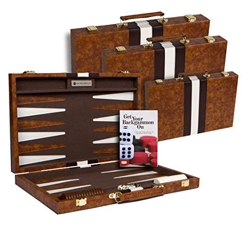 (Get The Games Out Top Backgammon Set - Classic Board Game Case - Best Strategy & Tip Guide - Large Brown)