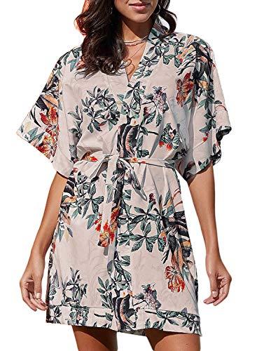 Elapsy Womens Summer Sexy V Neck Flower Pattern Kimono Boho Style Party Shift Dress Multicolor Medium ()