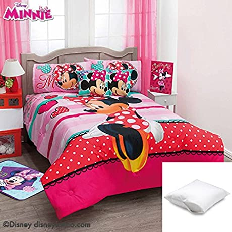 Disney Minnie Amor 5 Pc Comforter Set Twin Bundled With One Pillow Protector Queen