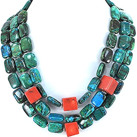 3 Strands Green/blue Chrysocolla & Bamboo Coral Beads Necklace with Silver Tone Toggle 18