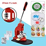 Red Button Maker Machine 37mm 1½ inch Button Badge Maker Pins Punch Press Machine Aluminum Frame 300pcs Free Button Parts + Circle Cutter (37mm 1½ inch)