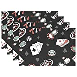 THUNANA Poker Placemats Dinner Mat,Heat-resistant Crinkle-proof Placemats