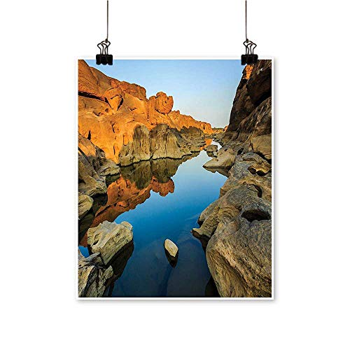 (Canvas paintingSecret Small Rav e Between Pairs Cliffs River Carved Scene Blue Orang Artwork for Living Room Decorations,12