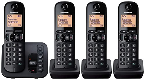 Panasonic KX-TGC224EB Digital Cordless Phone with LCD Display - Black, Pack...