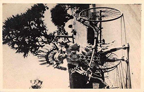 Rickshaw Puller Man Wearing Headdress Real Photo Antique Postcard J76370