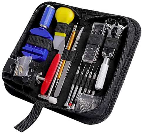 Watch Repair Kit CREMAX 147 PCS Watch Tools for Battery Replacement Band Tool Link Pin Remover with Carrying Case