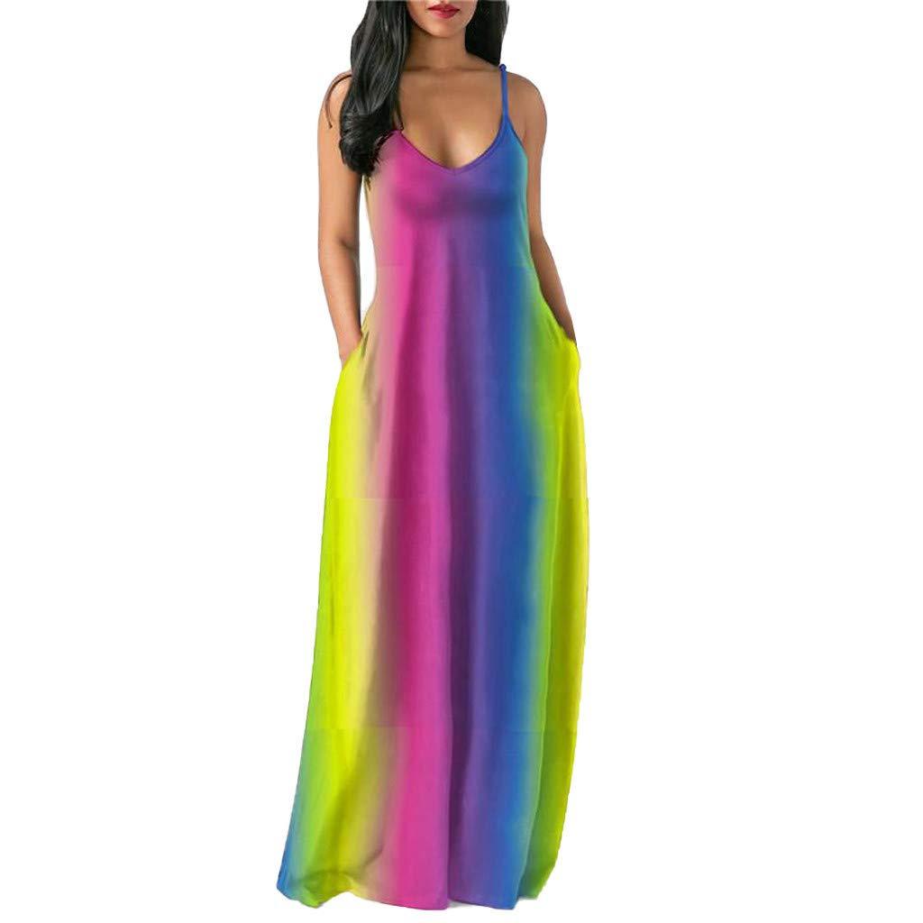 Nmch Rainbow Print Long Dress for Women V Neck Sleeveless Pockets Spaghetti Strap Maxi Dresses Sexy Fashion Beach Dress(Pink,M)