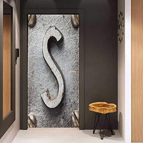 Onefzc Photo Wall Decal Letter S Damaged Worn Looking Block with Rusty Look Grunge Texture Alphabet Sign Image for Home Decor W23 x H70 Grey Brown ()