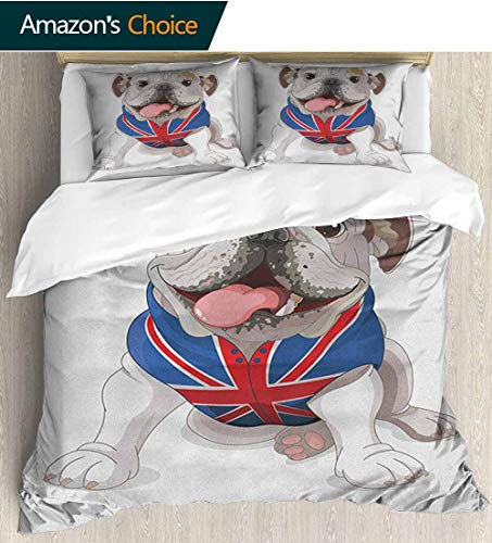 shirlyhome English Bulldog Duvet Covers Sateen,Box Stitched,Soft,Breathable,Hypoallergenic,Fade Resistant 100% Cotton Beding Linens for Kids Children(87