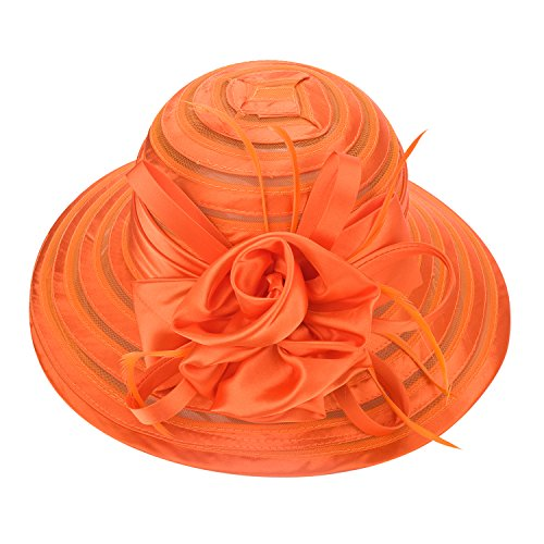 Lawliet Womens Satin Church Wedding Kentucky Derby Sun Hat A214 (Orange) -