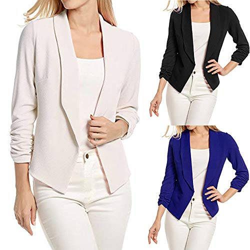 DEELIN Long Suit Office Blazer Cardigans Open Turn Sleeve Front Coats Work Sale Ladies Winter Clearance White Clothes 4 Womens Down Collar Jacket Sleeve 3 rXwqR6rx