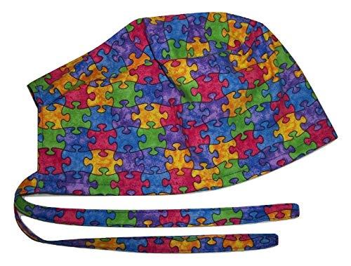Scrub Hat Jigsaw Puzzle Cotton Nurse Cap Tie Back Doctor ER Do-Rag -
