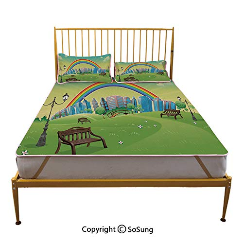 (Cartoon Creative King Size Summer Cool Mat,Kids Nursery Decor Park Bench Hills Apartments Rainbow Beams Flowers Art Print Sleeping & Play Cool Mat,Multicolor)