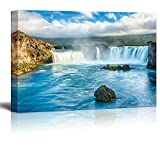"Canvas Prints Wall Art - Beautiful Scenery/Landscape Icelandic Waterfall Godafoss | Modern Home Deoration/Wall Decor Giclee Printing Wrapped Canvas Art Ready to Hang - 24"" x 36"""