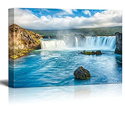 Canvas Prints Wall Art - Beautiful Scenery/Landscape Icelandic Waterfall Godafoss | Modern Home Deoration/Wall Art Giclee Printing Wrapped Canvas Art Ready to Hang - 16