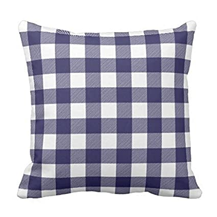 f239e511940 Image Unavailable. Image not available for. Color  Navy Blue Preppy Buffalo  Check Plaid pillow ...
