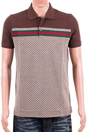 11e099fb7 Gucci Mens Polo Shirt Brown with Diamante Print and Front Stripe Signature