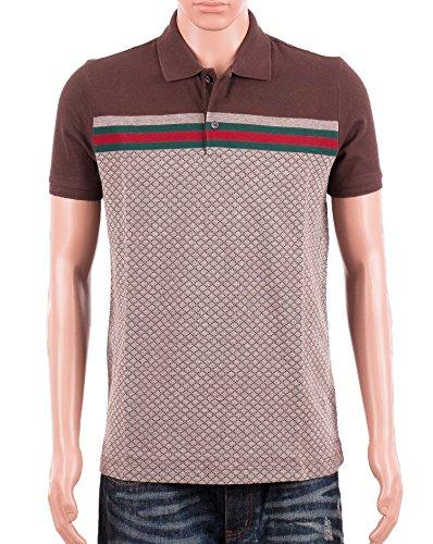 7c59c59f1ad Gucci Mens Polo Shirt Brown with Diamante Print and Front Stripe Signature ( Gucci Signature)
