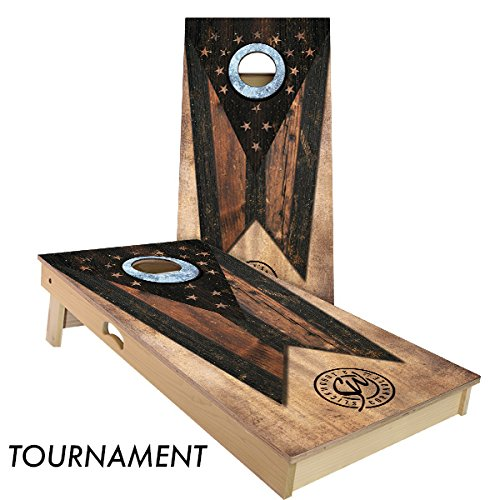 Rustic State Flag 4 by 2 feet Regulation Size Cornhole Boards Sets; 100% USA Made | Slick Woody's Cornhole Company (Vintage Ohio)